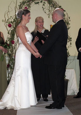 Formal Seacoast NH wedding at the Portsmouth Pearl with officiant Jeanne Pounder, Justice of the Peace